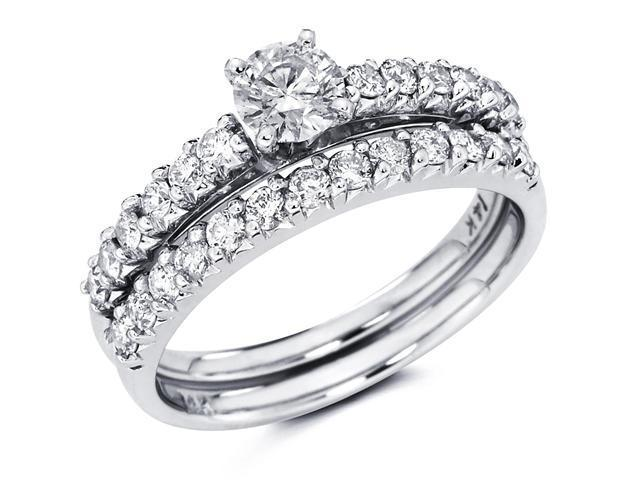 14k White Gold Solitaire Round Diamond Bridal Engagement Ring Set w/ Matching Channel Set Wedding Band (1.10 cttw, 2/5 ct Center, G-H Color, SI1 Clarity)