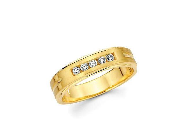 14k Yellow Gold Mens Diamond Wedding Ring Band .21ct (G-H Color, SI2 Clarity)