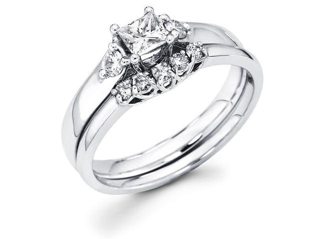 14k White Gold Three 3 Stone Princess Cut Center Diamond Engagement 2 Ring Set  w/ Side Stones includes Matching 5 Stone Diamond Wedding Band (1/2 cttw, G-H Color, SI1 Clarity)
