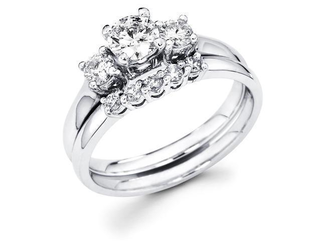 14k White Gold Three 3 Stone Round Diamond Engagement Anniversary 2 Ring Set w/ Matching 5 Stone Diamond Wedding Band (.85 cttw, G-H Color, SI1 Clarity)