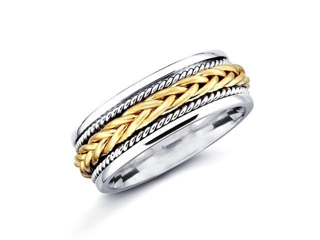 14k Yellow and White Two Tone Gold Womens Mens Braided Rope Design Wedding Ring Band 7MM Size 9