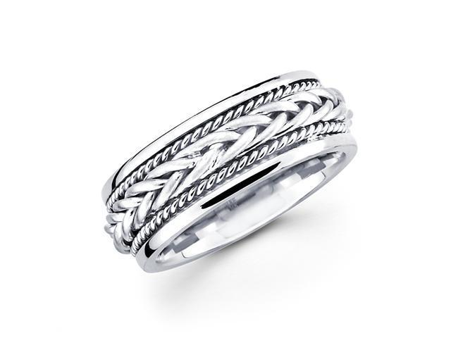 Solid 14k White Gold Ladies Mens Braided Rope Design Wedding Ring Band 7MM Size 6.5