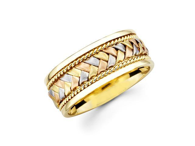 Solid 14k Yellow White and Rose Three 3 Tri Color Gold Mens Braided Design Wedding Band 8MM Size 10