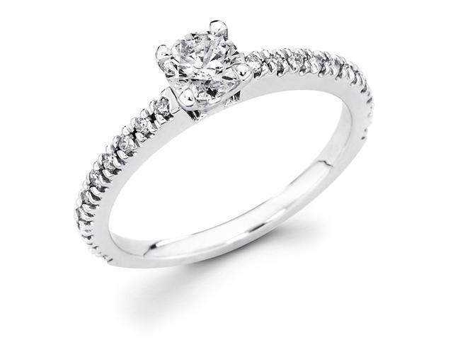 14k White Gold Solitaire Round Diamond Engagement Ring w/ Channel Set Diamond Side Stones (1/2 cttw, 1/4 ct Center, G-H Color, SI1 Clarity)