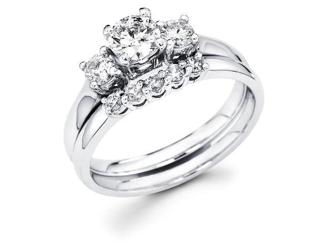 14k White Gold Three 3 Stone Round Diamond Engagement Anniversary 2 Ring Set w/ Matching 5 Stone Diamond Wedding Band (3/4 cttw, G-H Color, SI1 Clarity)