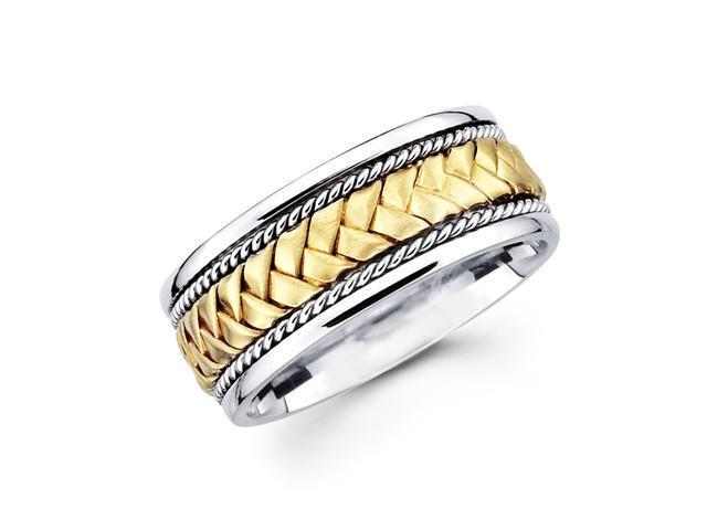 Solid 14k Yellow and White Two 2 Tone Gold Mens Braided Rope Design Wedding Ring Band 8MM Size 10.5