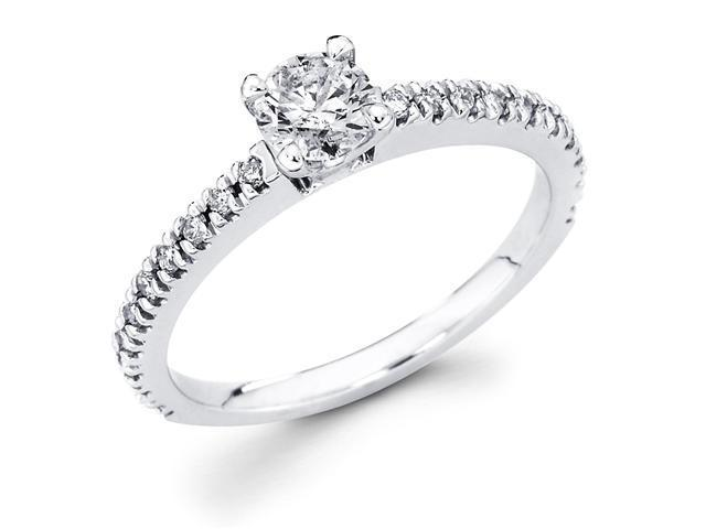 14k White Gold Solitaire Round Diamond Engagement Ring w/ Channel Set Diamond Side Stones (3/5 cttw, 2/5 ct Center, G-H Color, SI1 Clarity)