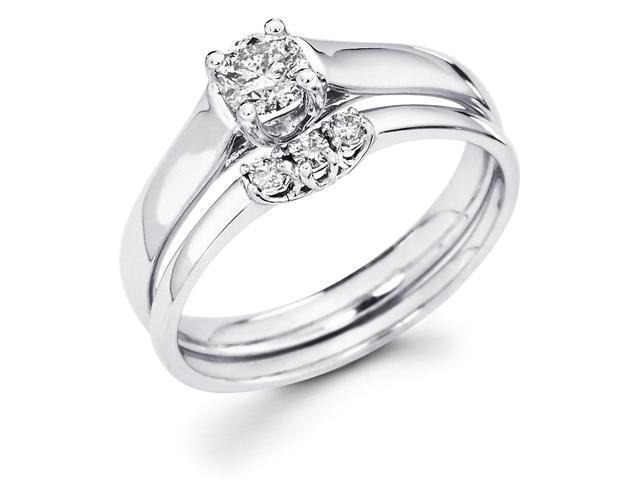 14k White Gold Classic Solitaire Round Diamond Engagement Bridal 2 Ring Set w/ Matching Wedding Band (2/5 cttw, G-H Color, SI1 Clarity)