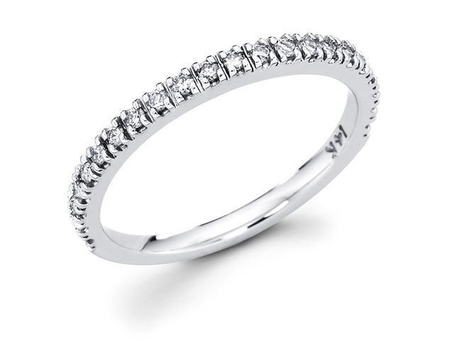 14k White Gold Channel Set 22 Round Diamond Wedding Anniversary 2mm Ring Band (1/4 cttw, G-H Color, SI1 Clarity)