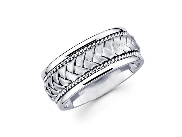 Solid 14k White Gold Mens Braided Rope Design Wedding Ring Band 8MM Size 8.5