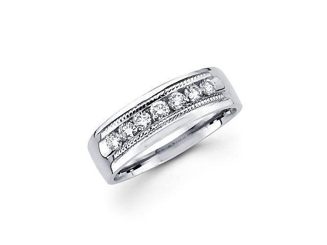 New 14k White Gold Mens Diamond Wedding Ring Band .49ct (G-H Color, SI2 Clarity)