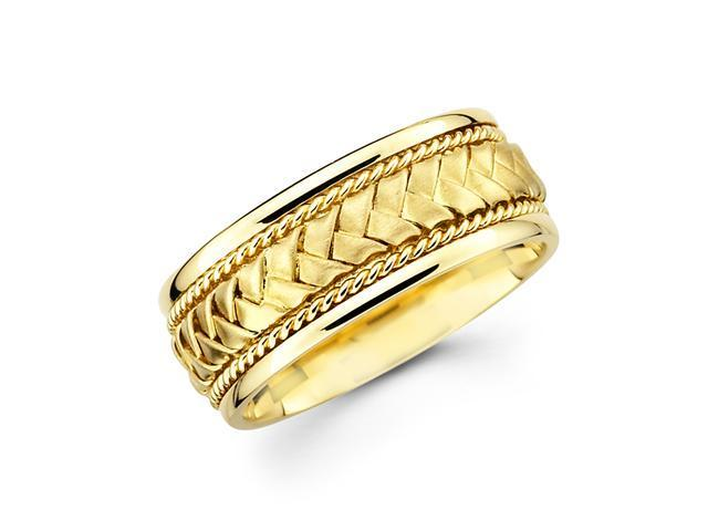 Solid 14k Yellow Gold Mens Braided Rope Design Wedding Ring Band 8MM Size 5.5