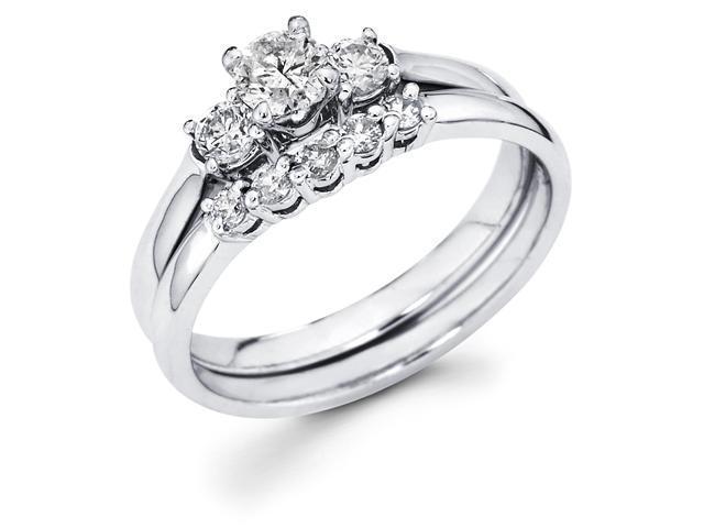 14k White Gold Three 3 Stone Round Diamond Engagement Anniversary 2 Ring Set w/ Matching 5 Stone Diamond Wedding Band (3/5 cttw, G-H Color, SI1 Clarity)