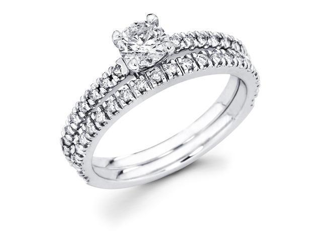 14k White Gold Solitaire Round Diamond Bridal Engagement Ring Set w/ Matching Channel Set Wedding Band (2/3 cttw, 1/4 ct Center, G-H Color, SI1 Clarity)