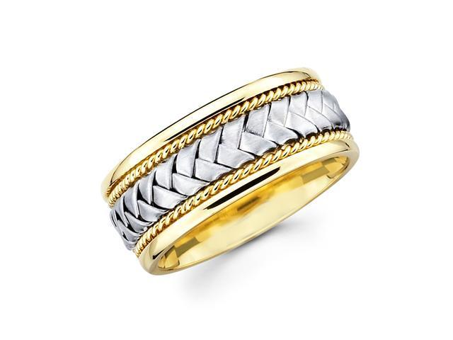 Solid 14k Yellow and White Two 2 Tone Gold Mens Braided Rope Design Wedding Ring Band 8MM Size 6.5