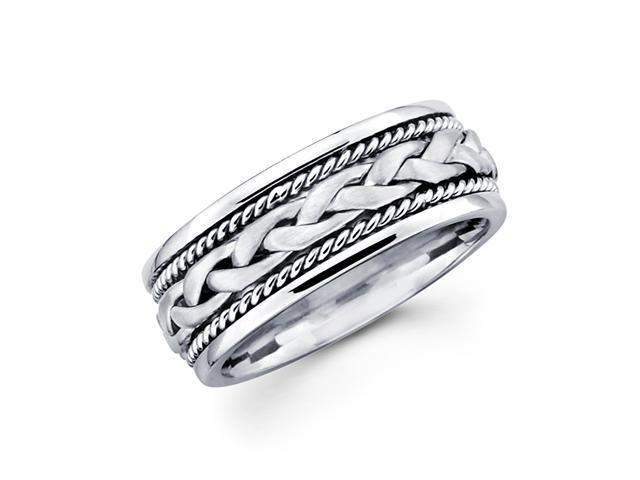 Solid 14k White Gold Ladies Mens Braided Rope Design Wedding Ring Band 7MM Size 10.5