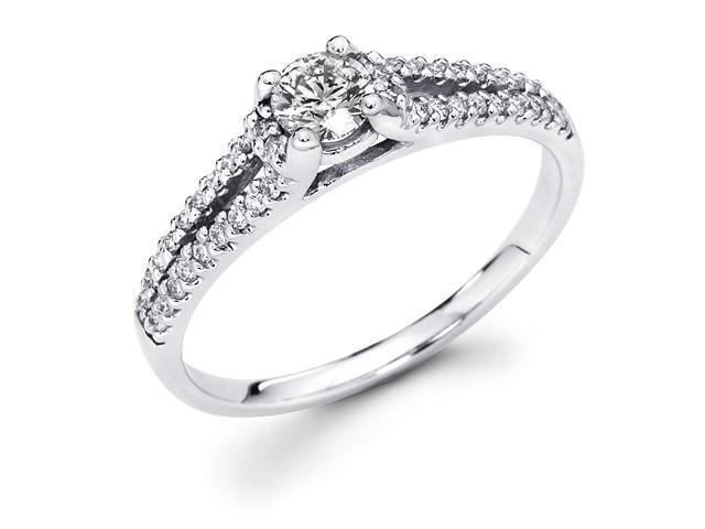 14k White Gold Solitaire Round Diamond Engagement Ring w/ Channel Micro Pave Set Diamond Side Stones in Split Band (1/2 cttw, 1/3 ct Center, G-H Color, SI1 Clarity)