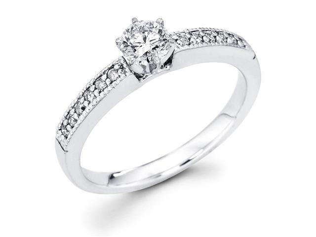 14k White Gold Milgrain Solitaire Round Diamond Engagement Ring w/ Channel Set Diamond Side Stones (3/8 cttw, 1/4 ct Center, G-H Color, SI1 Clarity)