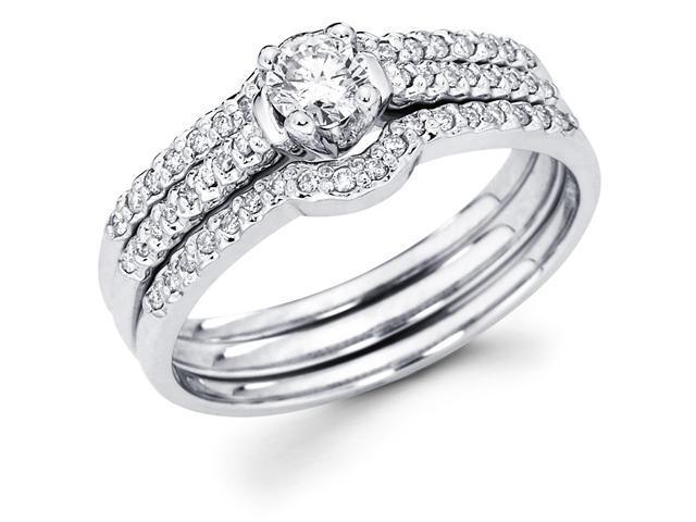 14k White Gold Solitaire Round Diamond Bridal Engagement Ring Set w/ 2 Matching Micro Pave Set Diamond Surrounding Wedding Bands (1/2 cttw, 1/4 ct Center, G-H Color, SI1 Clarity)