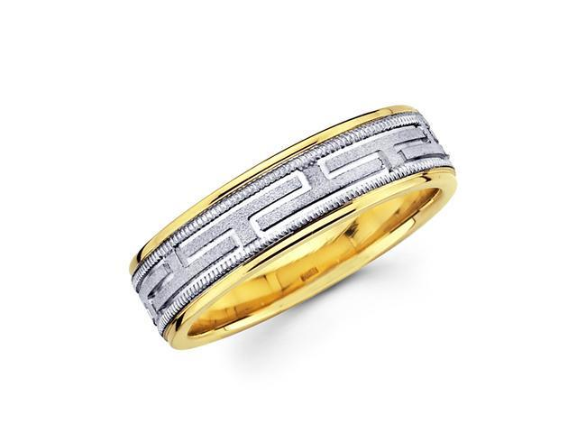 Solid 14k Yellow n White Two Tone Gold Womens Mens Greek Design Satin Wedding Ring Band 6MM Size 10