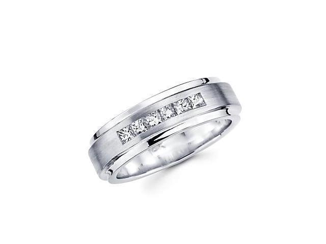 14k White Gold Princess Cut Diamond Ladies Wedding Ring Band .36 ct (G-H Color, SI1 Clarity)