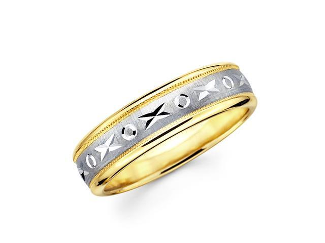 14k Yellow and White Two 2 Tone Gold XOXO Milgrain Design Diamond Cut Wedding Ring Band 6MM Size 7.5
