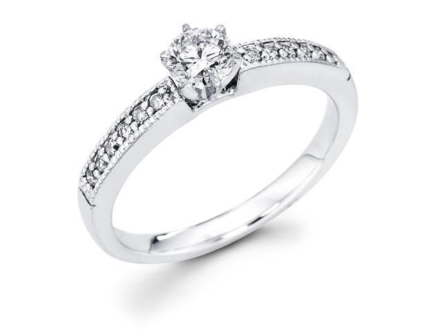 14k White Gold Milgrain Solitaire Round Diamond Engagement Ring w/ Channel Set Diamond Side Stones (1/2 cttw, 2/5 ct Center, G-H Color, SI1 Clarity)