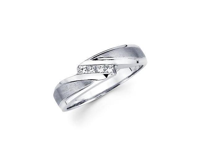 14k White Gold Princess Cut Diamond Womens Wedding Ring Band .15 ct (G-H Color, SI1 Clarity)