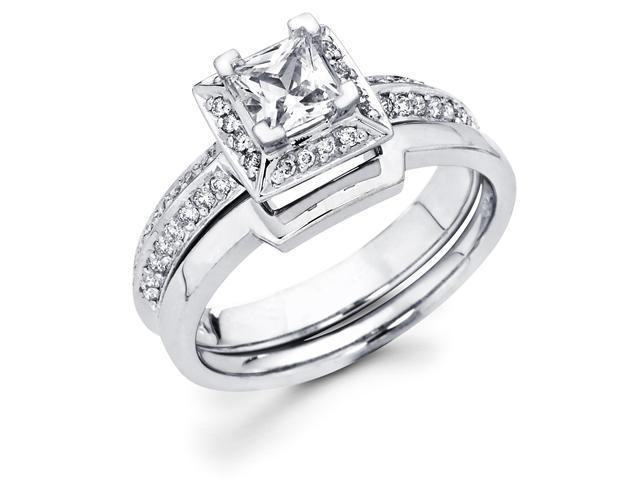 14k White Gold Solitaire Princess Cut Diamond Bridal Engagement 2 Ring Set w/ Matching Wedding Band (2/3 cttw, 2/5 ct Center, G-H Color, SI1 Clarity)