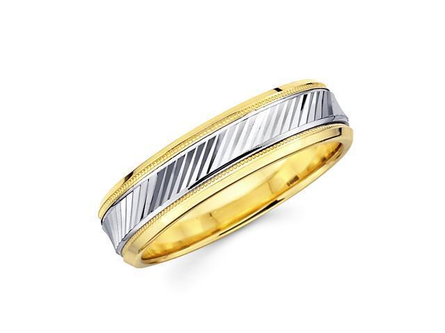 14k Yellow and White Two 2 Tone Gold Womens Mens Milgrain Diamond Cut Wedding Ring Band 6MM Size 5
