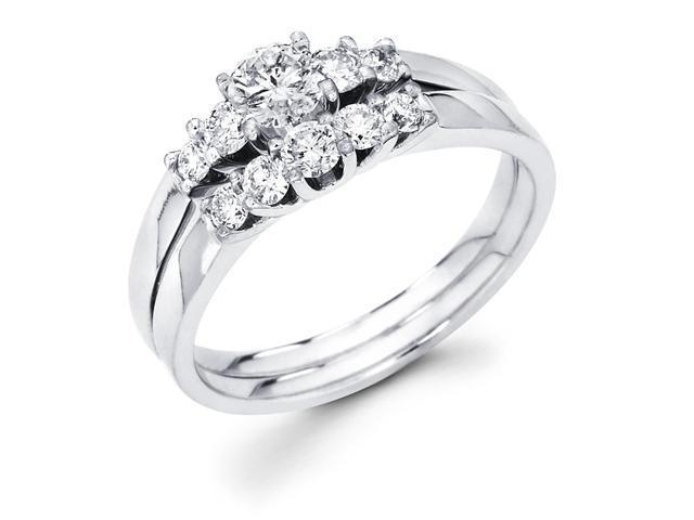14k White Gold 5 Five Stone Round Diamond Engagement Bridal 2 Two Ring Set w/ Matching Wedding Anniversary Band (1/2 cttw, G-H Color, SI1 Clarity)