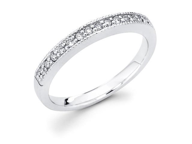 14k White Gold Channel Set 14 Round Diamond Wedding Anniversary 2.5mm Milgrain Ring Band (1/7 cttw, G-H Color, SI1 Clarity)