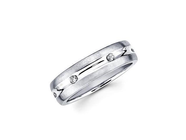 New 14k White Gold Mens Diamond Wedding Ring Band .16ct (G-H Color, SI2 Clarity)