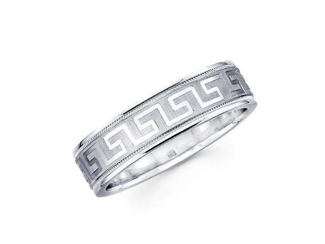 Solid 14k White Gold Ladies Mens Greek Design Satin Polish Milgrain Wedding Ring Band 6MM Size 5.5