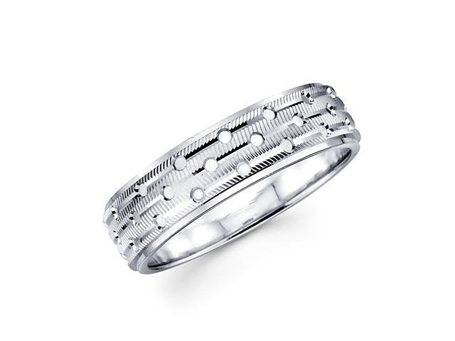 Solid 14k White Gold Ladies Mens Unique Milgrain w/ Holes Wedding Ring Band 6MM Size 5.5
