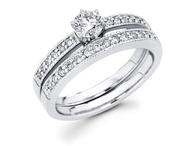 14k White Gold Solitaire Round Diamond Bridal Engagement Ring Set w/ Matching Milgrain Channel Set Wedding Band (1/2 cttw, 1/4 ct Center, G-H Color, SI1 Clarity)