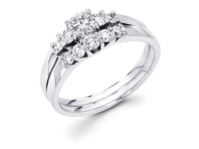 14k White Gold 5 Five Stone Round Diamond Engagement Bridal 2 Two Ring Set w/ Matching Wedding Anniversary Band (4/5 cttw, G-H Color, SI1 Clarity)