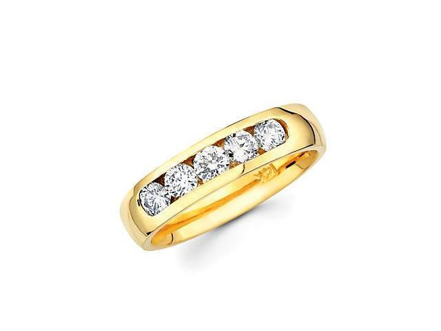 14k Gold Channel Set 5 Five Round Diamond Wedding Ring Band .71ct (G-H Color, SI2 Clarity)