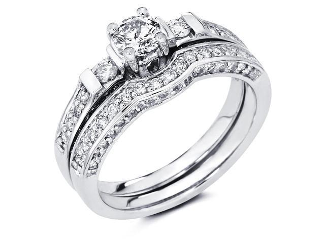 14k White Gold Solitaire Round Diamond Engagement Bridal Two Ring Set w/ Matching Wedding Band (.95 cttw, 2/5 ct Center, G-H Color, SI1 Clarity)