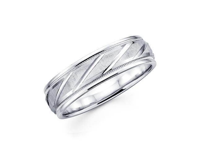 Solid 14k White Gold Ladies Mens Diamond Cut Design Milgrain Satin Wedding Ring Band 6MM Size 11.5