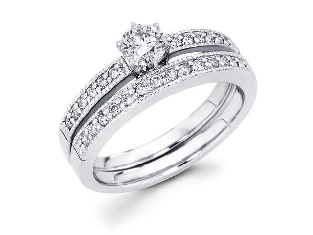 14k White Gold Solitaire Round Diamond Bridal Engagement Ring Set w/ Matching Milgrain Channel Set Wedding Band (2/3 cttw, 2/5 ct Center, G-H Color, SI1 Clarity)