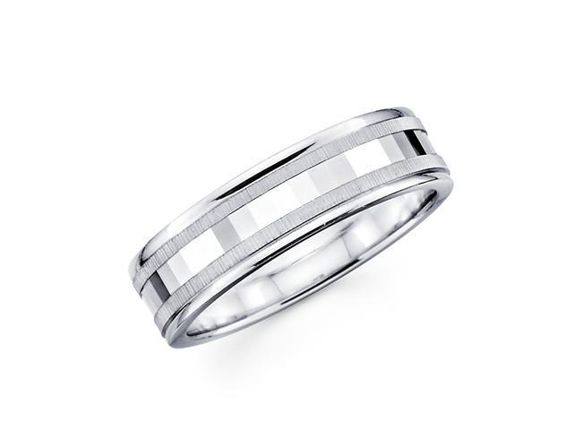 14k White Gold Ladies Mens Unique Satin High Polish Mirror Design Wedding Ring Band 6MM Size 10.5