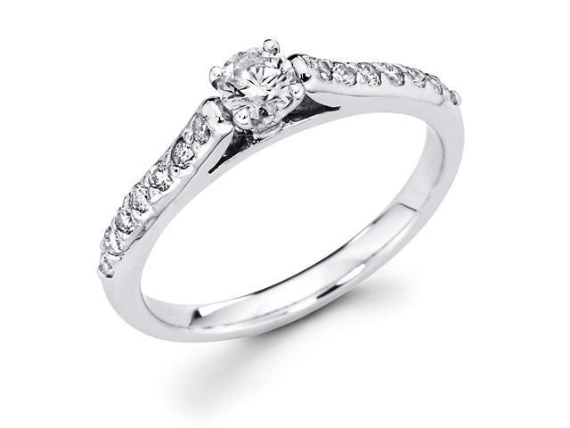 14k White Gold Solitaire Round Diamond Engagement Ring w Channel Set Diamond