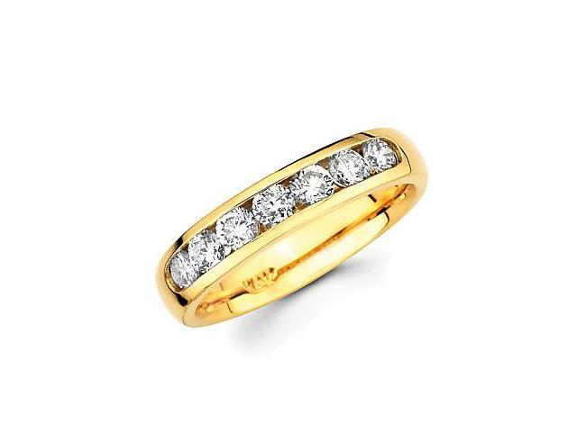 14k Gold Channel Set 7 Seven Round Diamond Wedding Ring Band .72ct (G-H Color, SI2 Clarity)