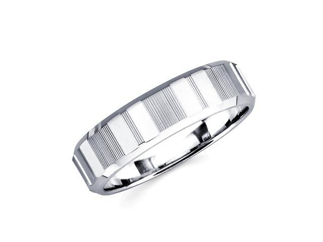 14k White Gold Ladies Mens High Polish Diamond / Razor Cut Unique Wedding Ring Band 6MM Size 5.5