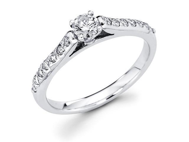 14k White Gold Solitaire Round Diamond Engagement Ring w/ Channel Set Diamond Side Stones (2/3 cttw, 2/5 ct Center, G-H Color, SI1 Clarity)