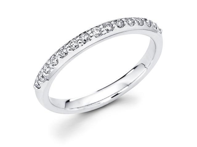14k White Gold Channel Set 15 Round Diamond Wedding Anniversary 2.6mm Ring Band (1/4 cttw, G-H Color, SI1 Clarity)