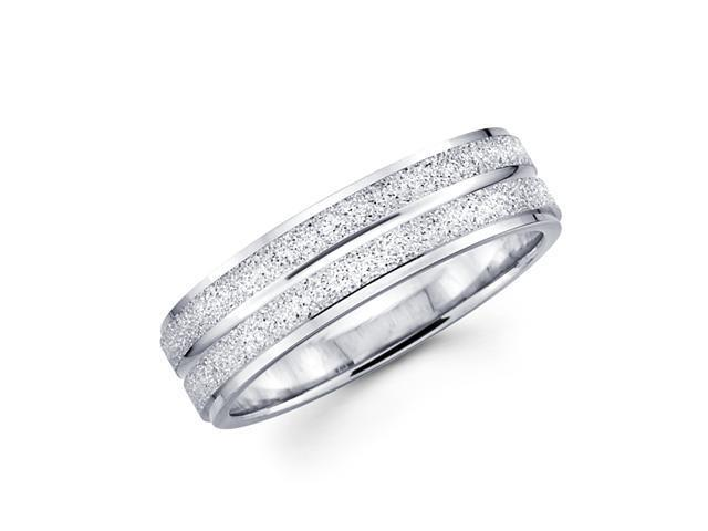 Solid 14k White Gold Ladies Mens Sand / Satin Finish Wedding Ring Band 6MM Size 9.5