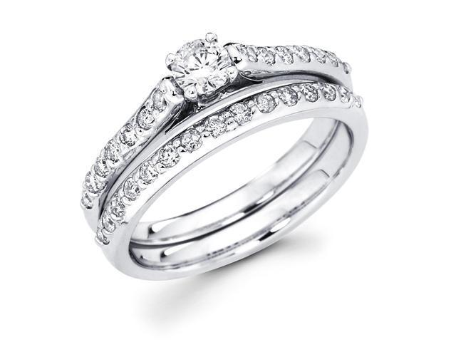 14k White Gold Solitaire Round Diamond Bridal Engagement Ring Set w/ Matching Channel Set Wedding Band (3/4 cttw, 1/4 ct Center, G-H Color, SI1 Clarity)