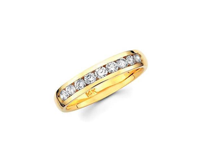 14k Gold Channel Set 9 Nine Round Diamond Wedding Ring Band 1/2ct (G-H Color, SI2 Clarity)
